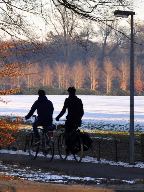 Two bikers in winter